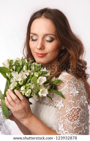 Bride dressed hippie stile with flowers