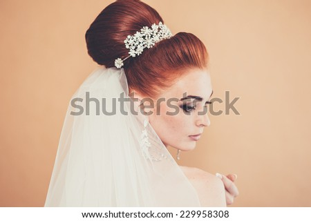 Bride getting ready. Bride dressing gown. bride is getting ready in the morning - stock photo