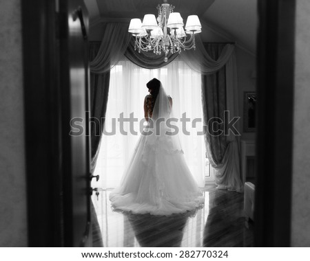 Bride girl with long hair standing against a window in her wedding dress - stock photo