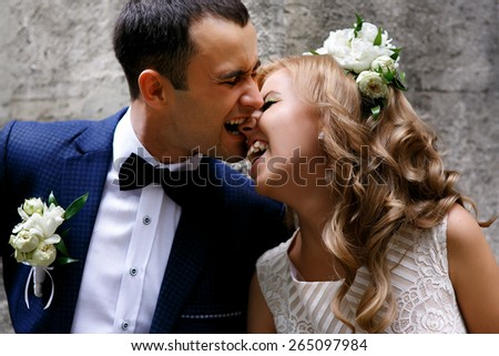 bride groom biting the nose