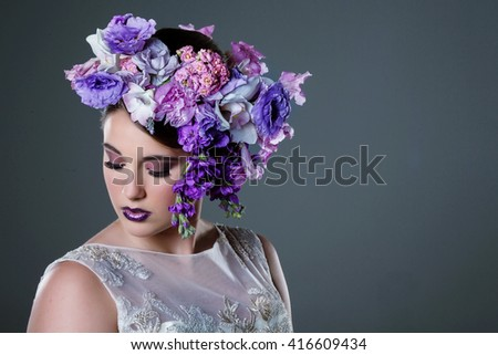 bride hair - Flowers Headpiece Decoration - Fashion shoot in Studio