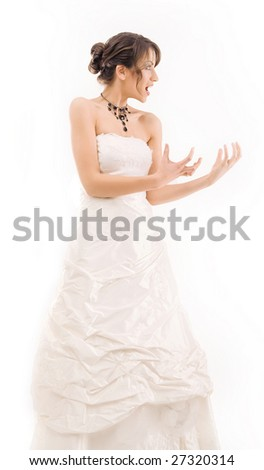 Bride having a bad day - stock photo