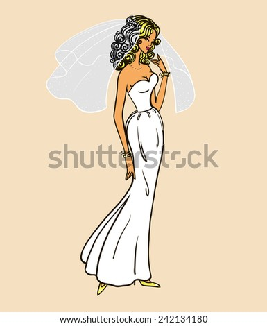 Bride in wedding dress and veil.  - stock photo