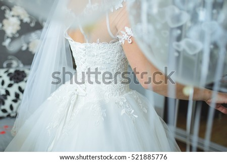 Bride Wedding Dress Veil Her Room Stock Photo (Download Now ...