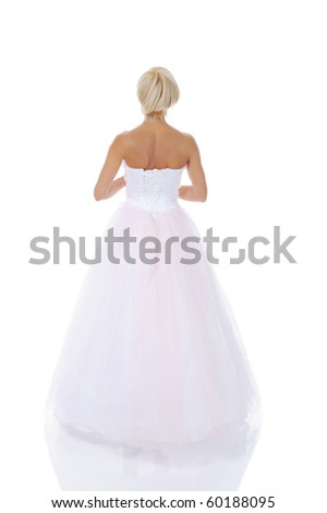 Bride in wedding dress. Isolated on white background - stock photo