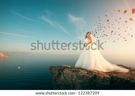 Bride Wedding Dress Stands On Cliff Stock Photo 122387209 - Shutterstock