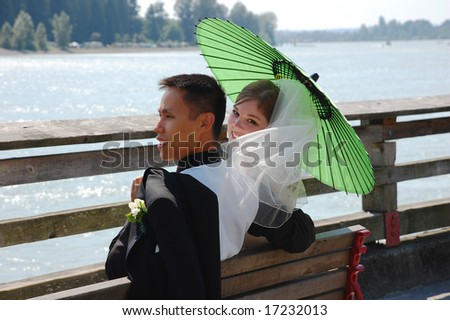 Bride looks back happily from behind veil - stock photo