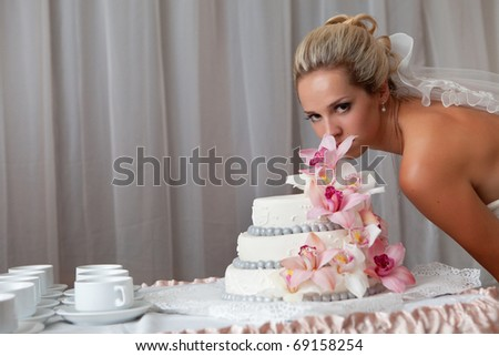 bride near a wedding cake with pink flowers - stock photo