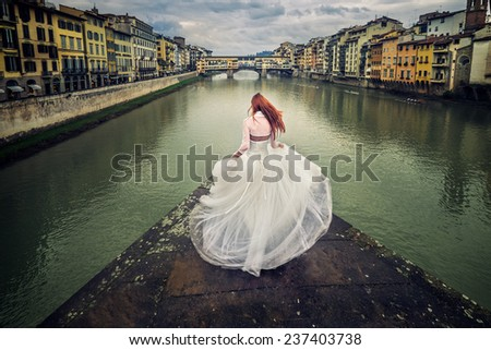bride on Florence - stock photo