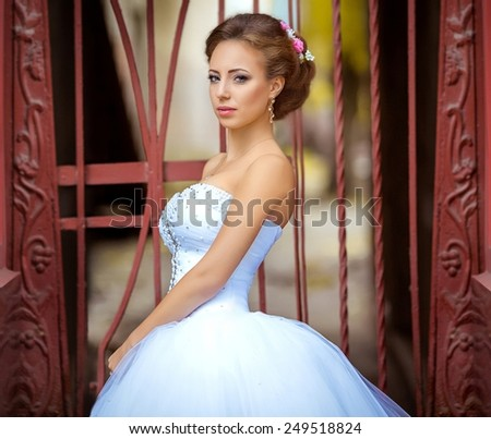 Bride on her wedding day - stock photo