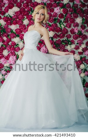 Bride on the peony background