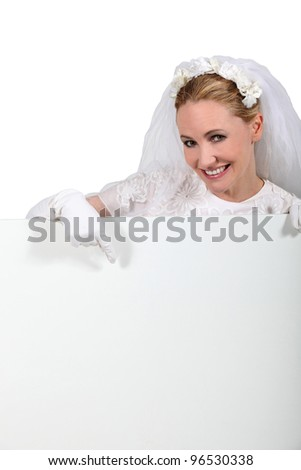 Bride pointing sign
