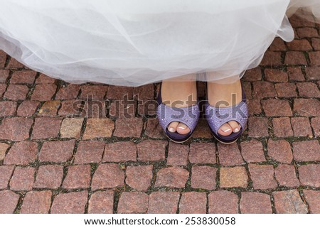 bride purple open toe shoes decorated with strass - stock photo