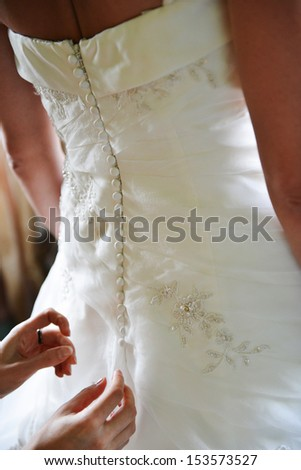 bride's back with dress elements