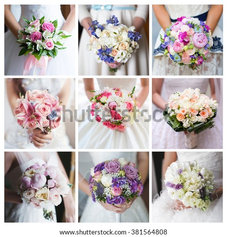 Bride's bouquet. Collage of photos from the wedding bouquets in different colors in the hands of the bride. - stock photo