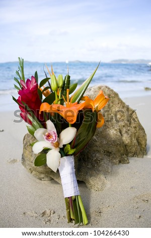 Bride's Bouquet on Beach Coral - stock photo