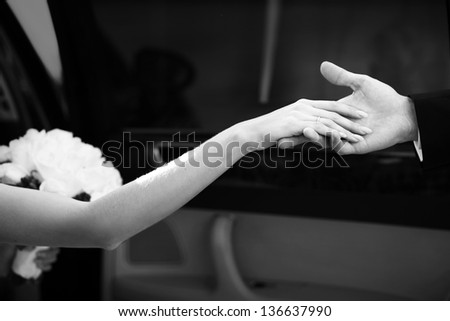 bride's hand and the hand of the groom while getting out of the car - stock photo