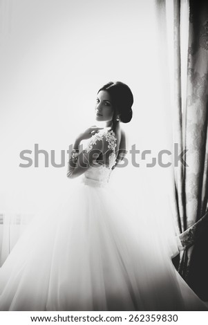 bride standing at the window. sunny day. black and white - stock photo