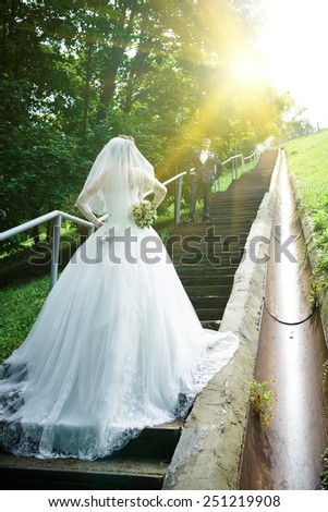 Bride standing on a staircase. - stock photo