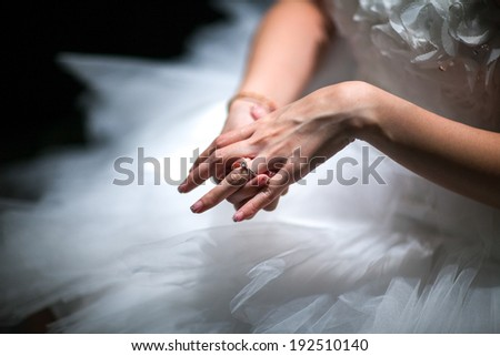 Bride test putting her Ring. The left ring finger - stock photo