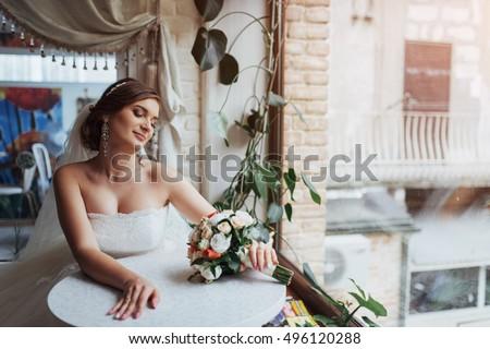 Young Naked Bride Posing Back Camera Stock Photo 142543000 ...