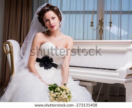 bride wedding piano white - stock photo