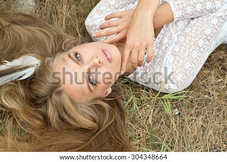 Bride with bouquet  on sunset outdoor. Boho style. Series - stock photo