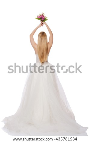 Bride with flowers isolated on white - stock photo