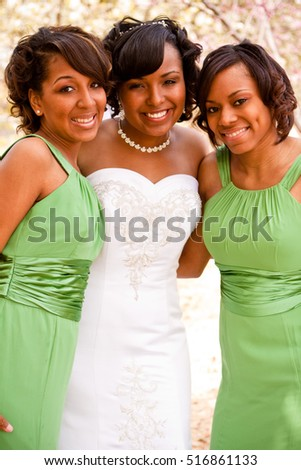 Bride with her bridesmaids.