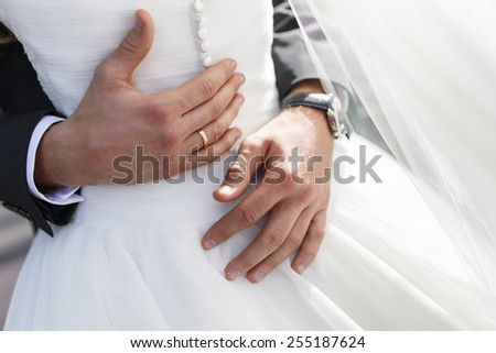 bridegroom embraces his bride, hugs closeup - stock photo