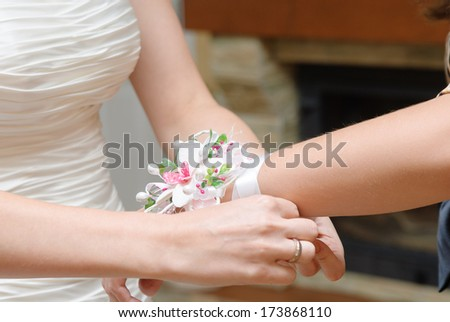 bridesmaid with wedding bouquet of flowers at bridal - stock photo