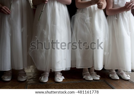 Bridesmaids waiting for the bride at a wedding