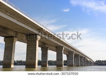 Bridge across Danube river in Belgrade, Serbia. Pupinov most - stock photo