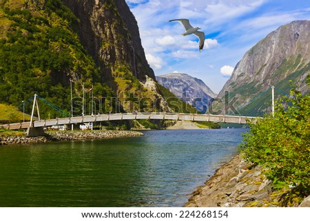 Bridge across fjord Sognefjord in Norway - nature and travel background - stock photo