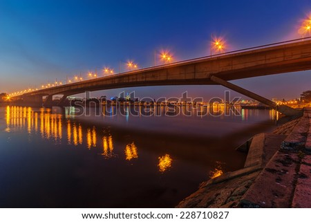 Bridge across river Sava at night with artificial lightning, Belgrade Serbia