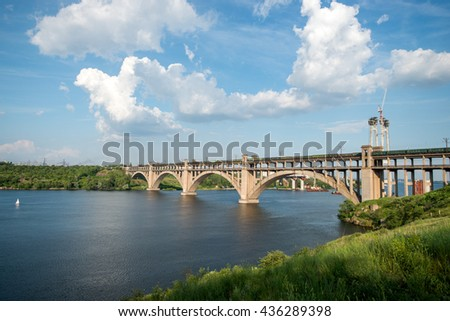bridge across the Dnieper River to the island Khortytsya, Zaporizhzhya, Ukraine - stock photo