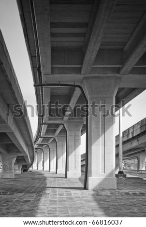 Bridge across the Highway,Bangkok ,Thailand - stock photo