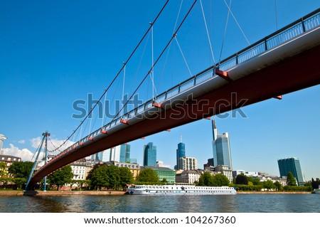 Bridge across the Main in Frankfurt city in Germany - stock photo