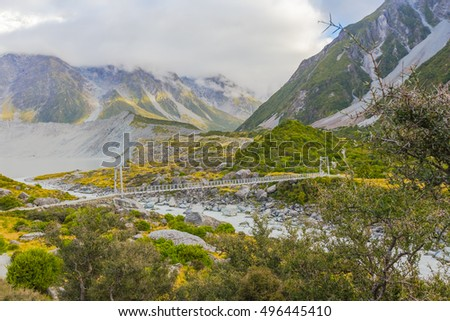 Bridge across the river, Mt. Cook, New Zealand