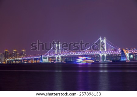 bridge after sunset at busan korea