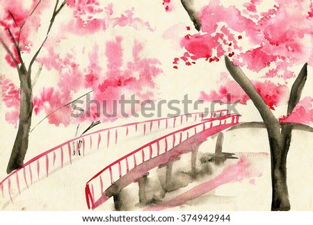 Bridge among cherry blossoms, Chinese-style landscape - stock photo