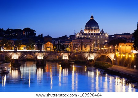 Bridge and Basilica of St. Peter in Rome, Italy - stock photo