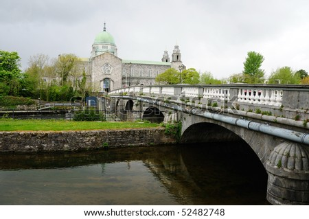 Bridge and cathedral in Galway, Republic of Ireland - stock photo