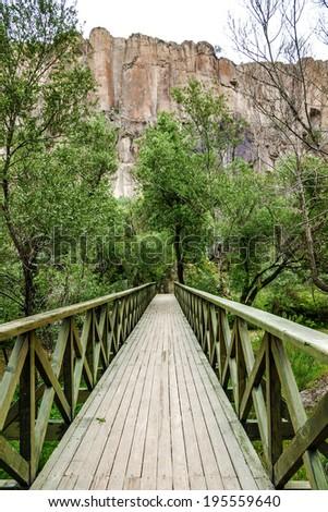 Bridge and mountain landscape in Canyon Ihlara, Cappadocia, Turkey - stock photo