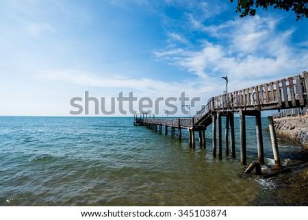 Bridge and pavilion on the sea - stock photo