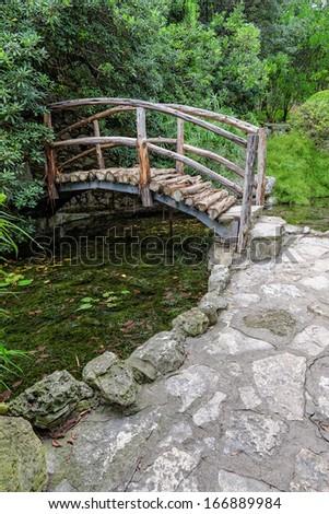 Bridge at Austin Botanical Garden - stock photo
