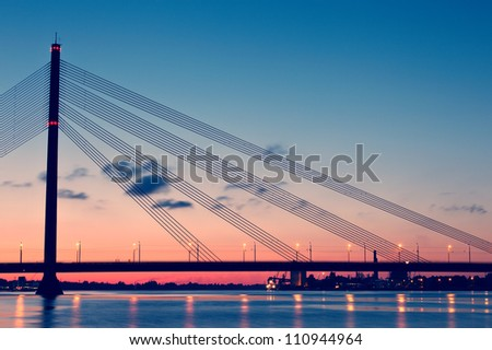 Bridge at night. Riga, Latvia - stock photo