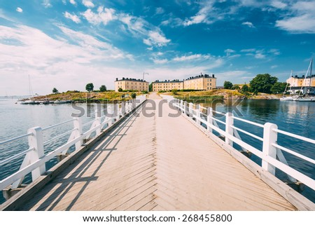 Bridge At Suomenlinna Fortress In Helsinki, Finland. Sunny Day With Blue Sky - stock photo
