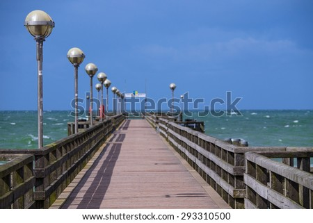 Bridge at the Baltic Sea - stock photo