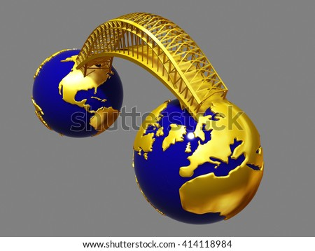 Bridge between two worlds or globes, 3d Illustration - stock photo